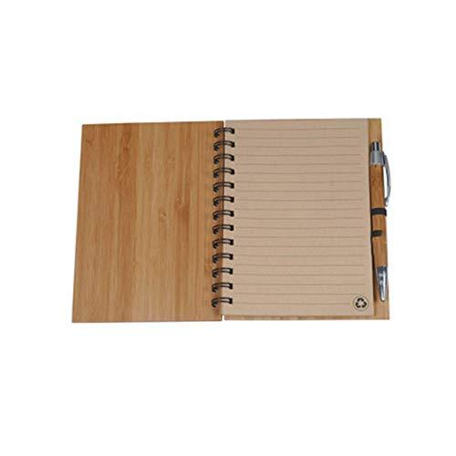 Ringbindung, Bambus-Einband, Notizbuch, recyceltes Papier, liniert, stilvolles Geschenk für Männer und Frauen (18 x 13,5 cm)