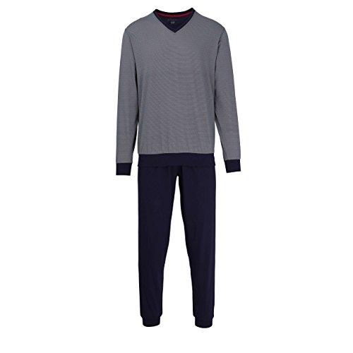 Bugatti Herren Pyjama, Kurzarm, Baumwolle, Single Jersey, blau, Bedruckt, mit Bündchen 56