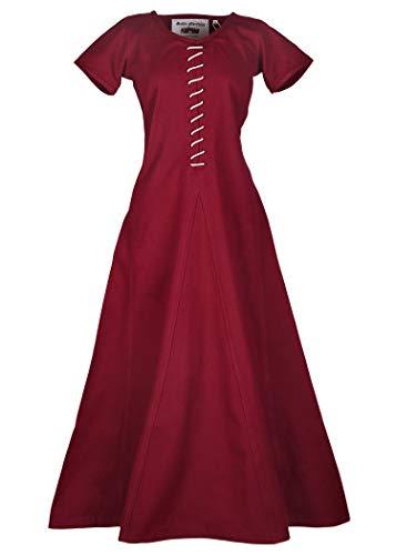 Battle-Merchant Mittelalter Kleid mit Schnürung für Damen Cotehardie AVA - Kurzarm - Mittelalterkleid - Wikinger - LARP - Kostüm … (Weinrot, XXL)