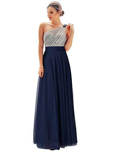 Ever-Pretty un Hombro Vestido de Noche A-línea Tul Lentejuela Vestido de Fiesta para Mujer 07404