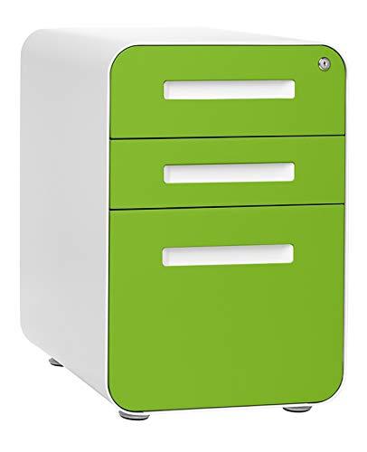 Stockpile 3-Drawer Mobile File Cabinet, Commercial-Grade, Pre-Assembled (Green Faceplate)