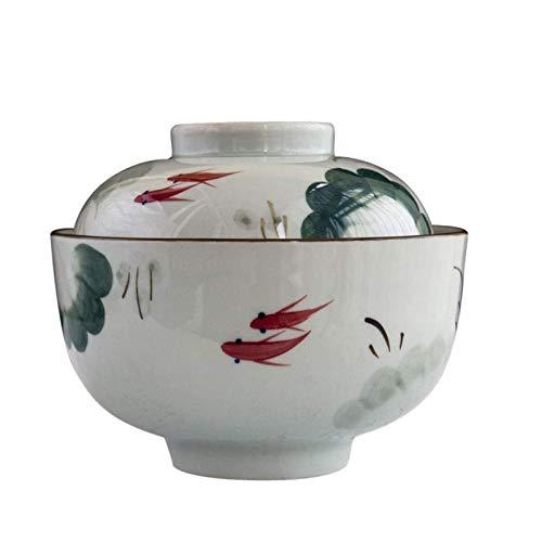 Zhenwo Keramikschale Mit Deckel Handbemalt Ramen Suppenschale Haushalt Instant Nudelschale Kreatives Japanisches Geschirr 800Ml,A