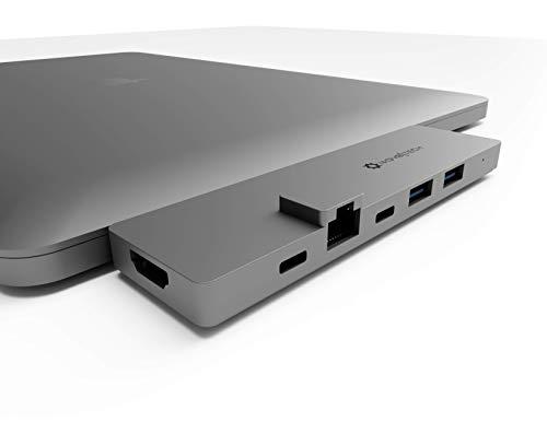 NOV8Tech USB C Hub 8-in-2 for Gray MacBook Pro M1 2020/2019/2028/2017 MacBook Air M1 20/19/18 4K HDMI, Gigabit Ethernet, SD 4.0 UHS II MicroSD Reader, Thunderbolt 3 100W Power, USB C Data, 2X USB 3.0