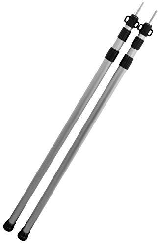 CampAir 2er Set Teleskopstangen Aluminium mit Packbeutel – Stufenlos Höhenverstellbar von 90-230 cm - Drehmechanismus