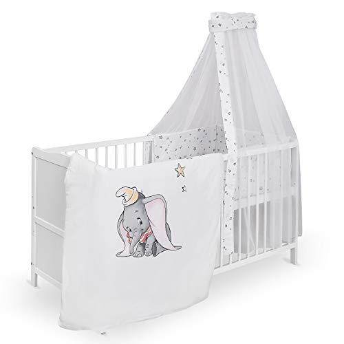 Urra Komplett-Kinderbett Luca 60x120 cm Kiefer weiß | teilmassiv | inklusive Bettset 3-teilig | Matratze | Himmelstange | Disney Dumbo