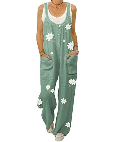 ACHIOOWA Latzhose Damen Blumen Floral Overall Jumpsuit Blumen Loose Sommerhose Lange Haremhose Grün L