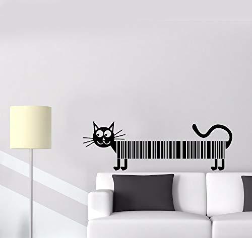 zhuziji Neu Gestaltete Katze Haustier Barcode Wandtattoo Lustige Tier Bild Vinyl Aufkleber Wohnzimmer Schlafzimmer Decor140x46cm