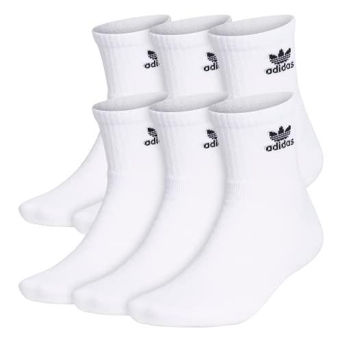 adidas Originals Calcetines de trébol para hombre, 6 pares, color blanco y negro, talla grande