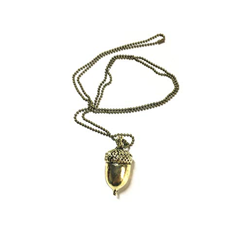 KYMLL Bronze Acorn Pullover Halskette Haselnuss Anhänger Einstellbar Pine Cone Halsketten für Frauen Männer