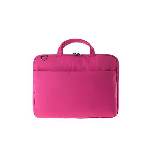 Tucano Darkolor Hartschalentasche für Laptop Notebook bis 14 Zoll, für den mobiler Arbeitsplatz mit praktischer Standfunktion und abnehmbarem Schultergurt - Fuchsie