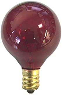 Sival - G40 Globe Light Replacement Bulb Transparent Red, 25-Pack, 5 Watts, Candelabra Base (E12)
