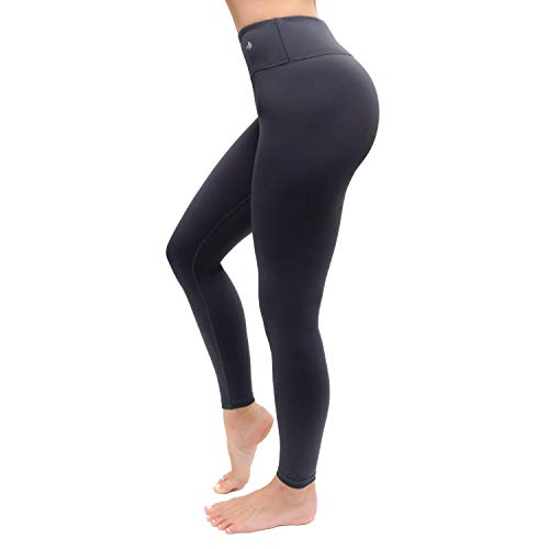 CompressionZ High Waisted Women's Leggings - Compression Pants for Yoga Running Gym & Everyday Fitness (Carbon Gray, Medium)