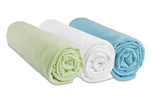 Lot de 3 draps Housse Coton - 70x160 - anis Blanc Turquoise