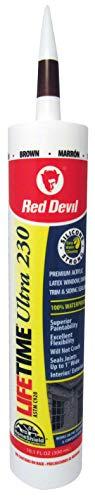 Red Devil 077040 Lifetime Ultra Premium Elastomeric Acrylic Latex Sealant, Brown, 10.1 Oz