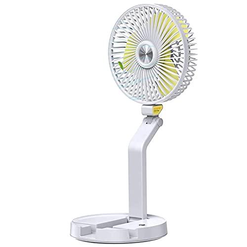 DXDHUB Ventilador de escritorio, portátil personal, plegable, 3 velocidades, silencioso, uso en casa y oficina (color: blanco)