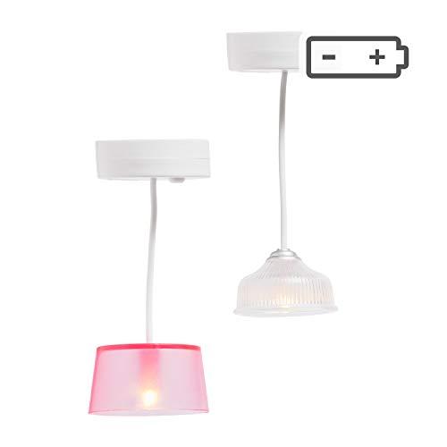 Lundby 60-605300 - Lampen Puppenhaus - 2 Stück - Lampenset - LED-Licht - Puppenhauszubehör - Zubehör - batteriebetrieben - Hängeleuchte - ab 4 Jahre - 11 cm Puppen - Minipuppen 1:18