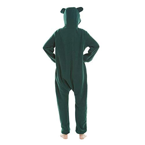 WEIYIing Adulto Onesie Dibujos Animados Pajama Partido Partido Mujer con Capucha de Lujo Animal Green Ropa de Dormir Largo-Verde Oscuro_L