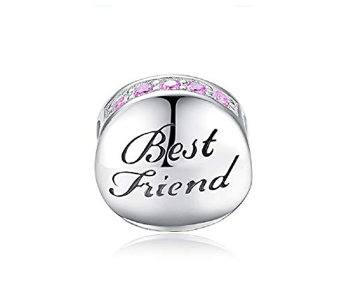 FeatherWish Freundschafts-Charm mit Gravur Best Friend, Sterling-Silber 925, Zirkonia, Pink