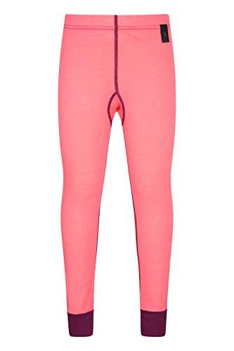 Mountain Warehouse Merino Thermohose als Baselayer für Kinder - Atmungsaktiv, leichte Hose, antibakterielle Kinderhose- Mädchen & Jungen Winter Baselayer leuchtendes Pink 11-12 Jahre