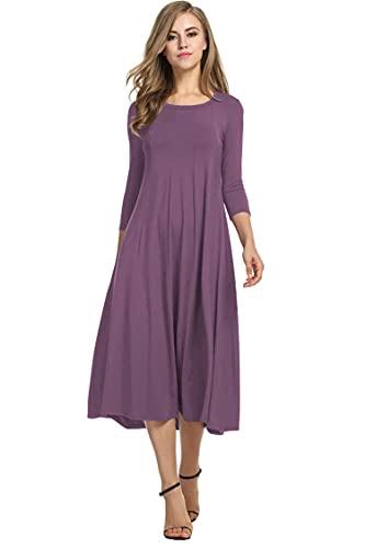 Hotouch Womens Dress 3/4 Sleeve Winter Casual Midi Empire Waist Swing Dress(Mauve L)