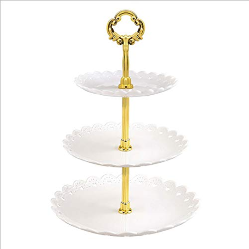 1 PCS White Fruit Plate European Dessert Table Fruit Plate Three Layer Cake Stand Dim Sum Holder Wedding Party Candy Plate Plastic Dry Fruit Plate for Birthday Dinner, Family Party