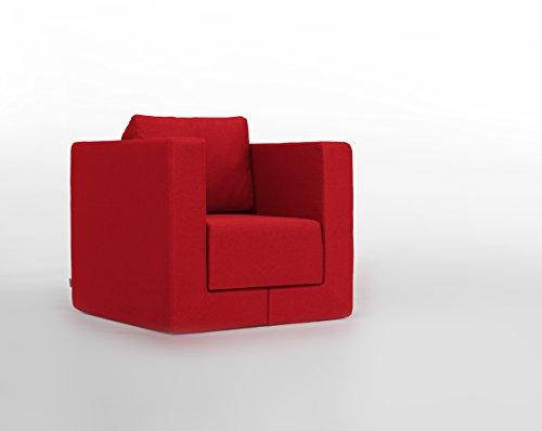 FEYDOM Verwandlungssessel Schlafsessel Loungesessel Lesesessel Gästebett Liege Q6 Webstoff velare rot, German Design Award Nominee 2013, Design-Sessel zum relaxen