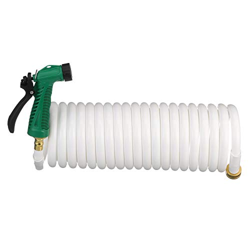 Seachoice 79691 Coiled Washdown Hose with Sprayer and Brass Fittings 25' White