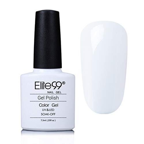 Elite99 Esmaltes Semipermanentes de Uñas en Gel UV LED, Esmaltes de Uñas en Gel de Color Blanco 7.3ml
