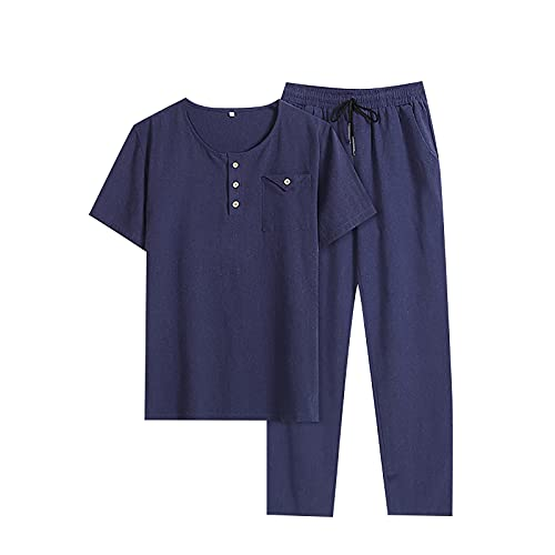 YESMAN Uomini Spiaggia Abiti Set Cotone Lino Tute SetPlus Size Casual Tuta Set Manica Corta Camicia Lunga Pantaloni Vestiti Set, Blu scuro, M