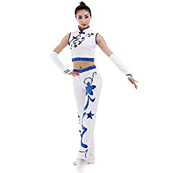 Handmade Sleeveless Top & Pant In White With Blue Sequins Gymnastics Suit