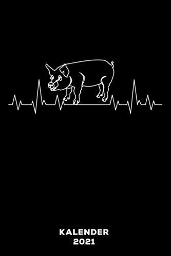 Schwein Herzschlag: Kalender 2021 und Jahresplaner von Januar bis Dezember mit Ferien, Feiertagen und Monatsübersicht | Organizer, Taschenkalender und Organizer für 1 Jahr