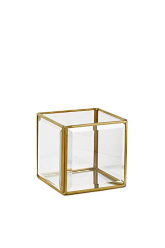 Serene Spaces Living Beveled Glass Gold Square Candleholder with Mirror Bottom, Glass Candle Box for Wedding Centerpiece, Party, Christmas, Thanksgiving, Holiday Decor, Measures 4' Tall & 4.25' Square
