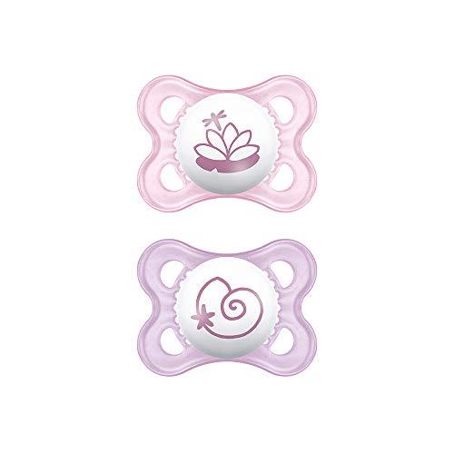 MAM Chupete Original S158 - Chupete con Tetina de Silicona Skinsofttm Ultrasuave, para Bebé de 0+ Meses, con Caja Auto Esterilizadora, Rosa, 2 Unidades