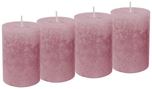 Unbekannt 4 Stumpenkerzen Kerzen Rosa Taufe Hochzeit Tischdeko Deko