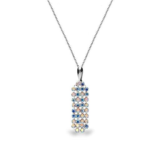 Con Cristalli Swarovski® in Ana Morales–Catena e Ciondolo in argento Sterling 925, argento, colore: Klein Boreale, cod. N172