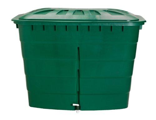 Graf 501207 Regentonne eckig 520 L mit Deckel und Hahn, grün