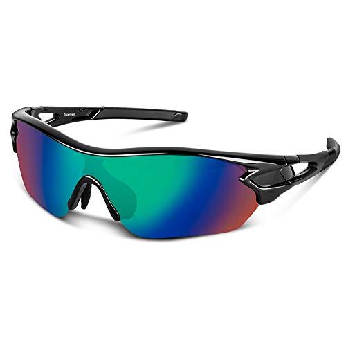 Bea Cool Gafas de sol polarizadas deportivas para hombres, mujeres, jóvenes, béisbol, ciclismo, correr, conducir, pescar, golf, motocicleta, tac, gafas (Brillante Negro Azul)