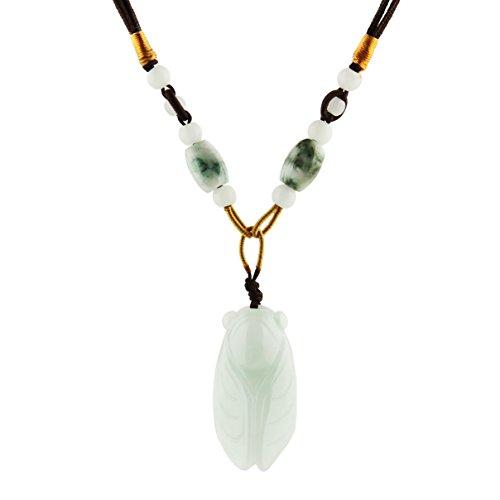 HZMAN Natural Genuine Green Jade Happy Maitreya Buddha Pendant Necklace Lucky Protection Powers Amulet (Cicada)