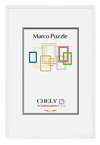 CHELY INTERMARKET, Marco de Puzzle (Mod-295) 50x70 cm Blanco| Estilo galería | Marco de Madera para Decoración de Puzzles en salón de casa, Habitaciones, oficinas de Trabajo.(295-50x70-1,95)