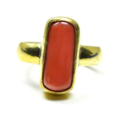 Jewelryonclick Anello da uomo in corallo rosso naturale placcato oro 4 carati lunetta gioielli per uso quotidiano e Lega, 47 (15.0), colore: Red, cod. JOCSIMPCRLRM4-H