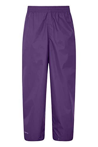 Mountain Warehouse Protectores Impermeables para niños Pakka - Pantalón con Costuras Selladas - Tobillo Ajustable - Pantalones Plegables para Lluvia - para la Escuela Morado 2-3 Años