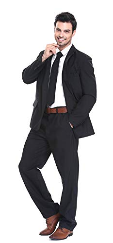 YOU LOOK UGLY TODAY Mens Party Suit Solid Color Jacket Costume Leisure Suit for Holiday Party with Tie & Pants (Black XXL)