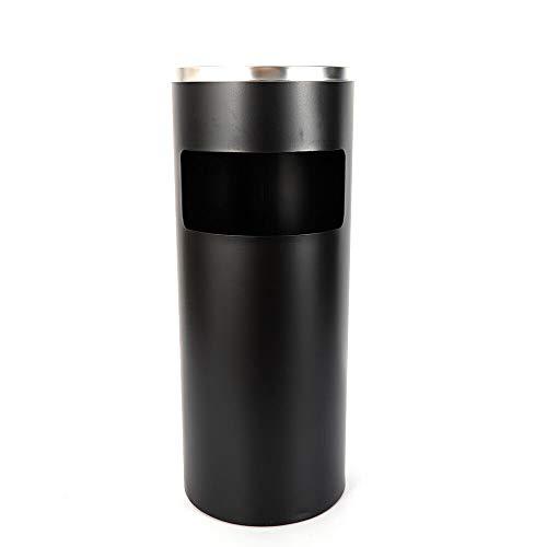 Cubo de basura de acero inoxidable de 30 l, cenicero de pie + cubo interior para el hogar y la oficina, cenicero de pie para exteriores, cubo de basura con cenicero, cubo de basura con cubo interior