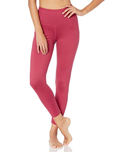 Amazon Brand - Core 10 Women's All Day Comfort High Waist Yoga 7/8 Crop Legging with Side Pockets, Dusty Red, Small