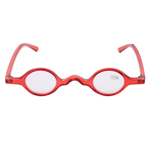 ❤ Chaunce de buena calidad vintage pequeño redondo marco ovalado lectura gafas presbicia gafas gafas gafas gafas gafas para dioptría hombres + 1,0 ~ + 3,5, color rojo