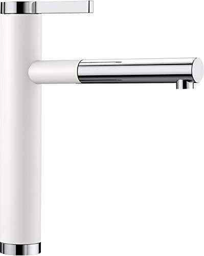 Blanco Linee-S, Küchenarmatur - Einhandmischer, exklusiver Wasserhahn mit ausziehbarer Brause, Silgranit-Look zweifarbig, Silgranitweiß / chrom, Hochdruck, 1 Stück, 518441