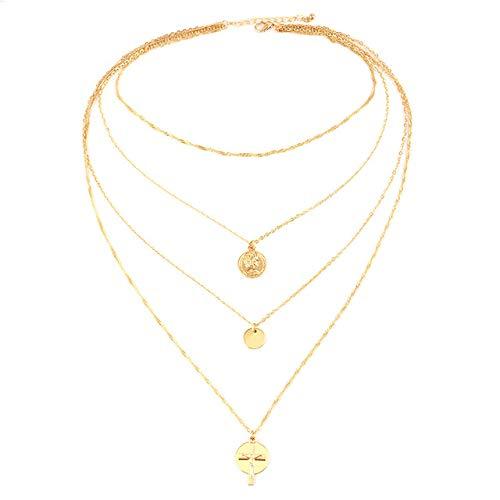 ZYJ Romantische Goud Multilayer Coin Ketting Ketting Voor Vrouwen Mode Vrouwelijke Cross Hangers Kettingen Sieraden