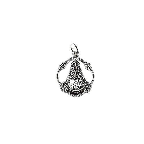 Medalla colgante plata ley 925m 25mm. Virgen Rocío [AA8129]