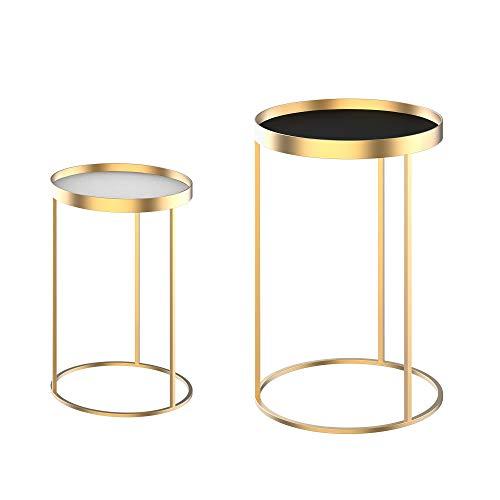homcom Set 2 Tavolini da Salotto Moderni Impilabili con Bordo Alto e Ripiano Incassato, Metallo e MDF Φ39x63cm/Φ30.8x56cm Oro