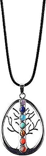 Collar Color plateado Siete piedras Collares Colgantes Yoga Reiki Equilibrio 7 Collar Mujer Regalo Longitud de la cadena Aprox. Collar con colgante 45 + 5 cm Regalo para niño Collar con colgante Regal
